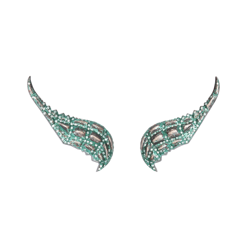 Green Lady Caiman earrings.