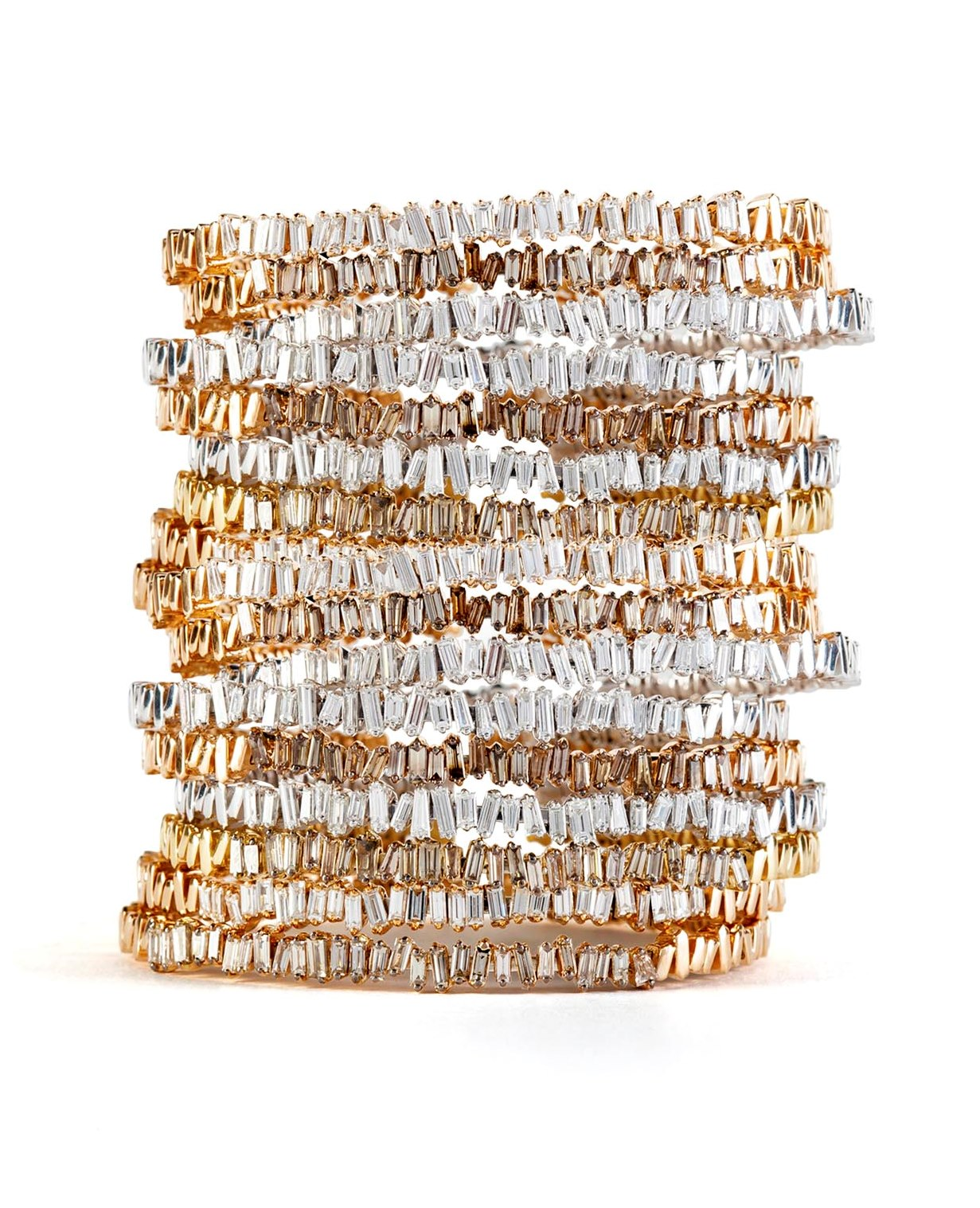 Baguette Bangles in 18-karat gold and diamonds.