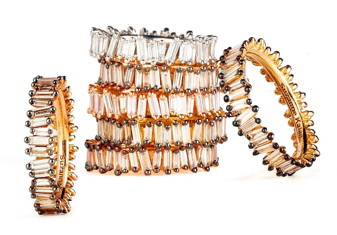 18k gold Baguette bands from Suzanne Kalan's signature Fireworks collection in white and champagne diamonds. Retails for $6,160, available at  Suzanne Kalan .