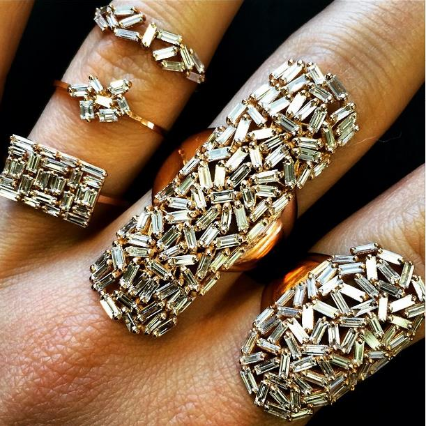18k gold and diamondrings from the Fireworks collection.