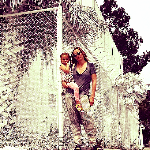 Cool mama mode in LA- snatched from Polly's  instagram  account: Don't follow if you hate beautiful jewels &adorable children.