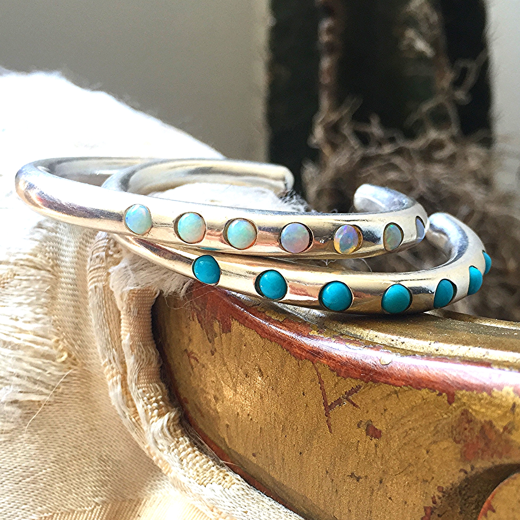 New opal and sleeping beauty turquoise Cufflings in sterling silver.