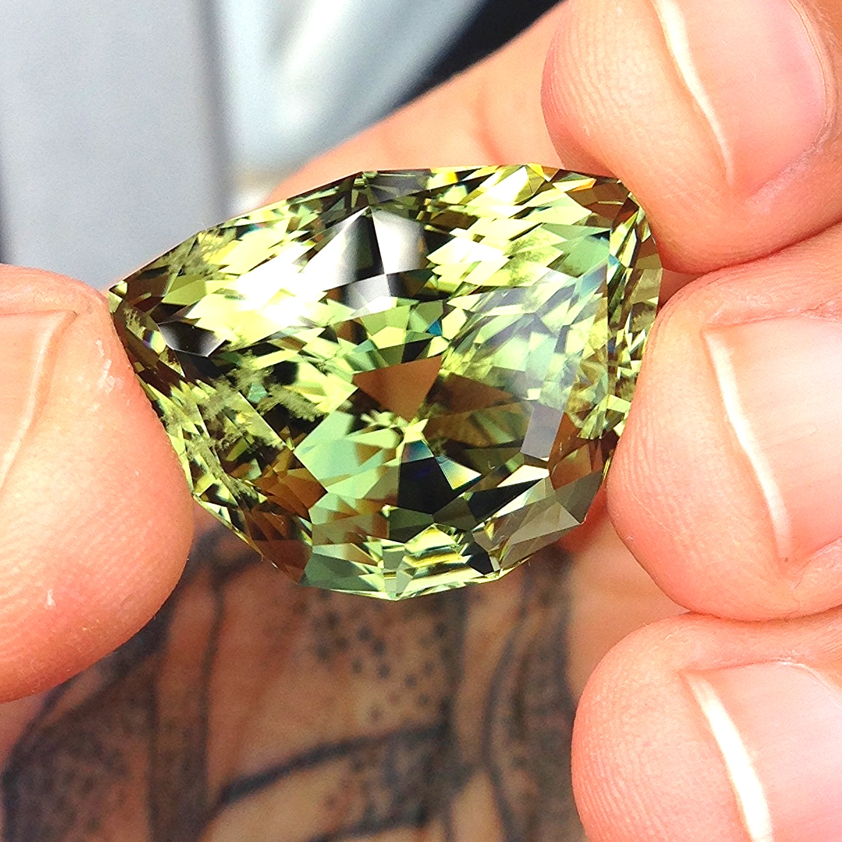 45 carat tourmaline form Mozambique, pulled from a 300 carat crystal.