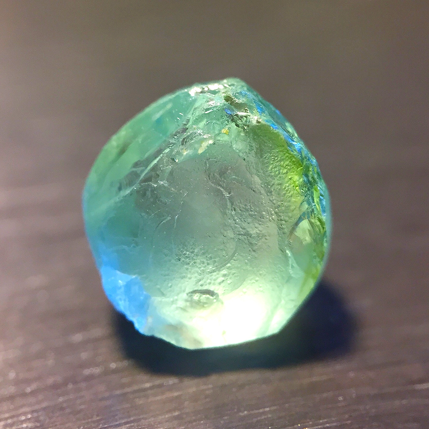 Mint tourmaline, before...