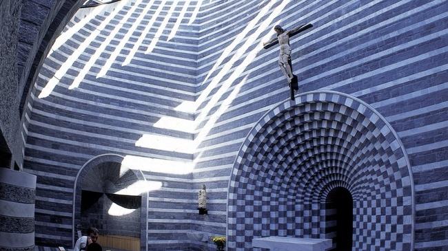 The Mario Botta church in Switzerland.