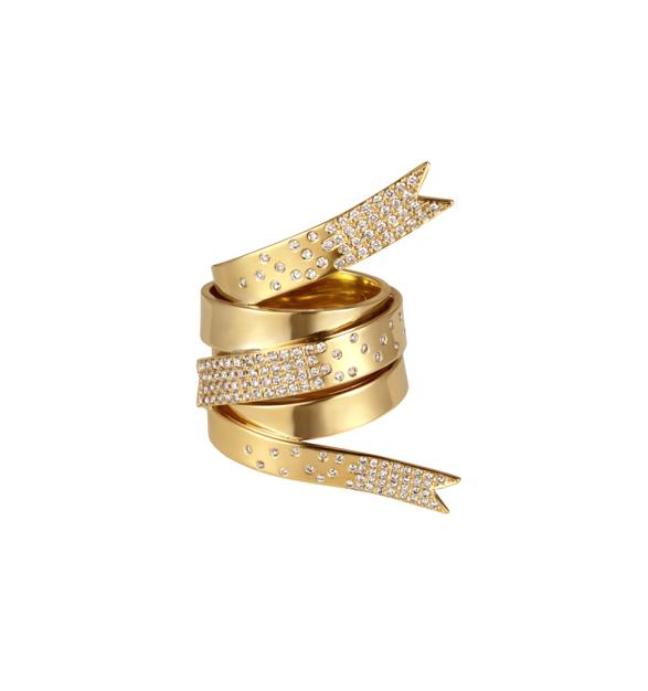 Elena Votsi 18k yellow gold and diamond Ribbon ring, $16,400,  available at Stone & Strand .