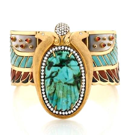 18 carat gold, diamond, turquoise, jasper, mother of pearl, orange saphire and onyx bracelet .jpeg