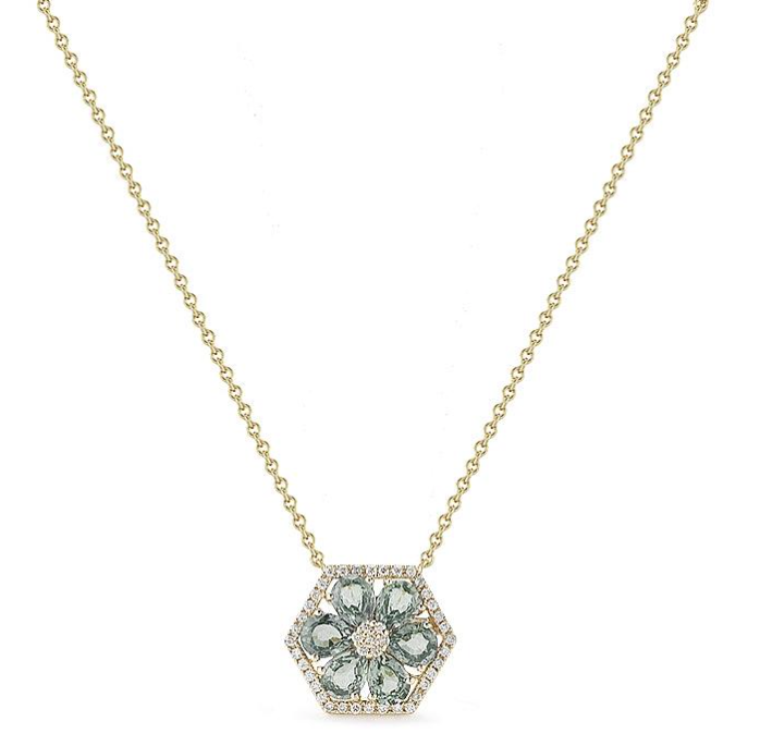 The Jennifer Yamina necklace is available in an array of gemstones – like many of Dana's pieces – making them perfect for gifts. This version in green sapphires and diamonds, $1,265,  available at Dana Rebecca .