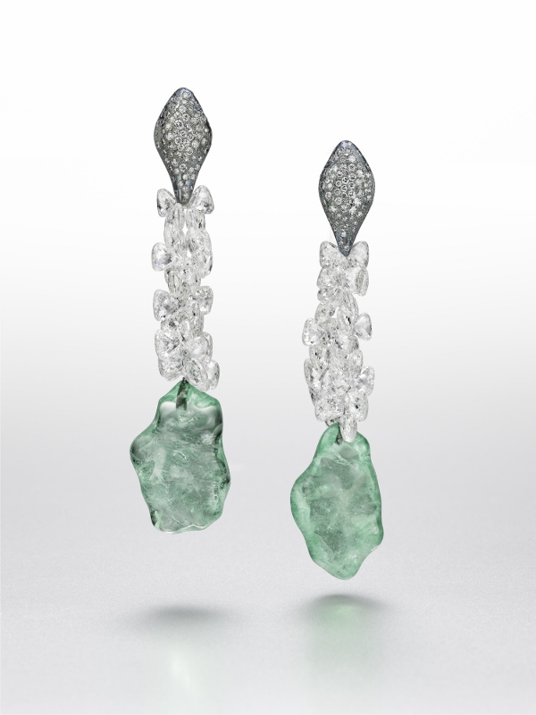 """It's Raining Dreams"" earrings in titanium and white gold with 73.35 carats of Pariaba tourmalines and diamonds."