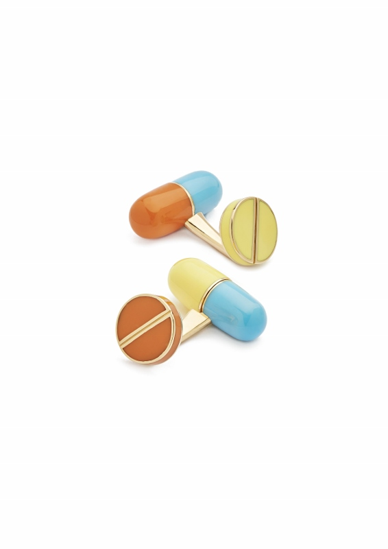 """Adrenaline"" cufflinks in yellow gold and silver with four enamel pills."
