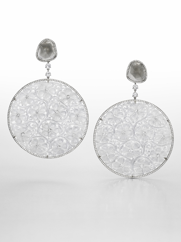 """Whispers of Spring"" earrings in titanium and white gold with 114.17 carats of jade and diamonds."