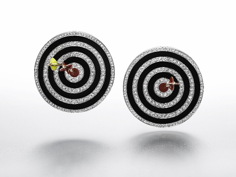 """Hit the Bullseye"" earrings in enamel, white gold, pink gold and silver with diamonds."