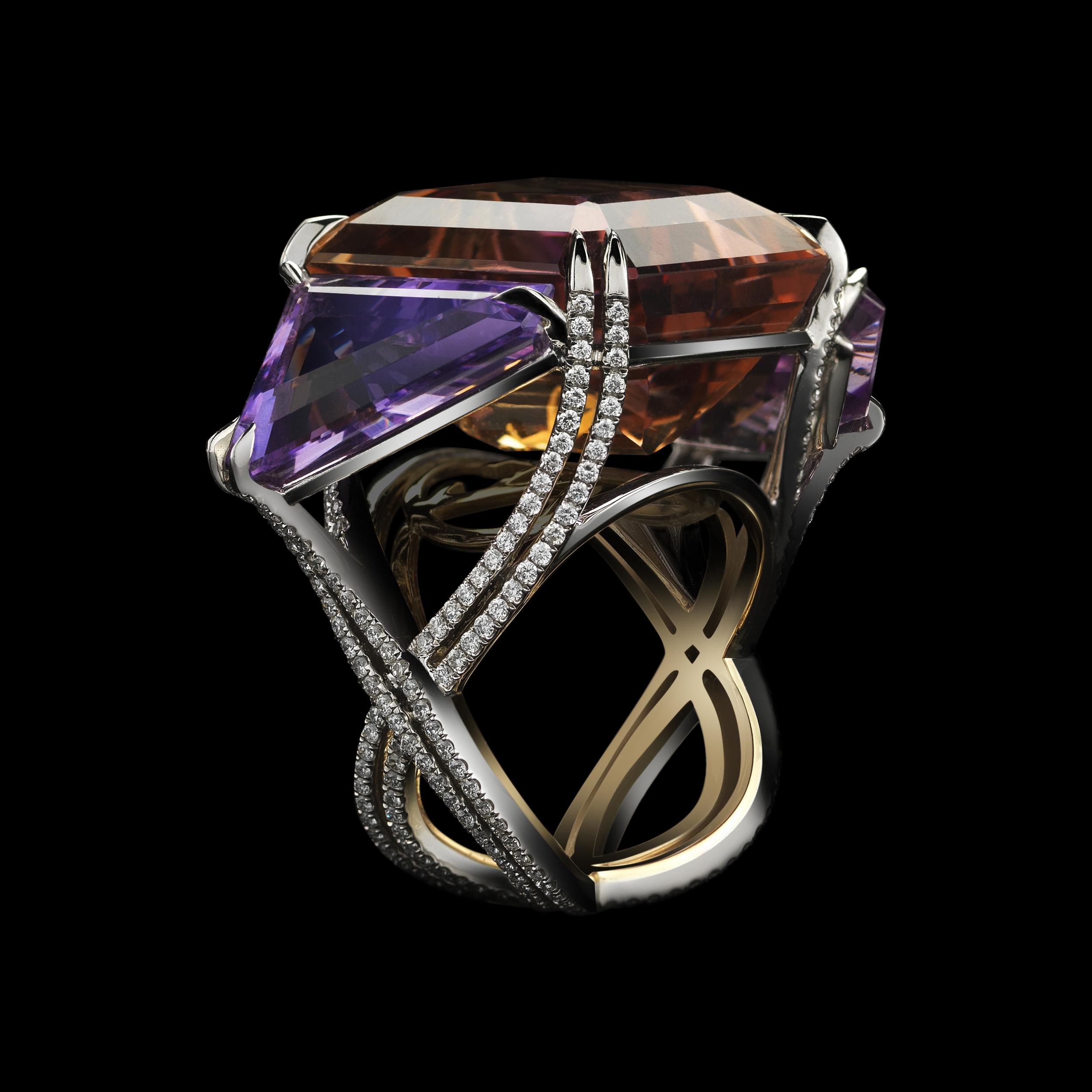 Asymmetrical Bicolor Ametrine & Diamond Three Stone Ring AMRG4009-01_B HI RES BLK BG.jpeg