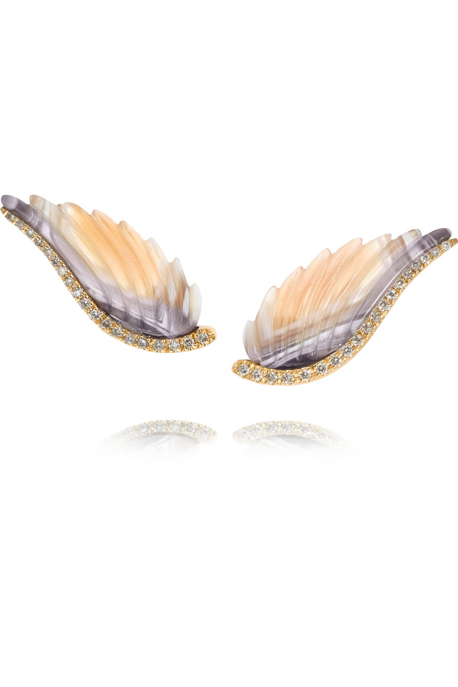 Noor Fares  Wing 18-karat gold, agate and diamond earrings, $4,335,  available at Net-A-Porter .