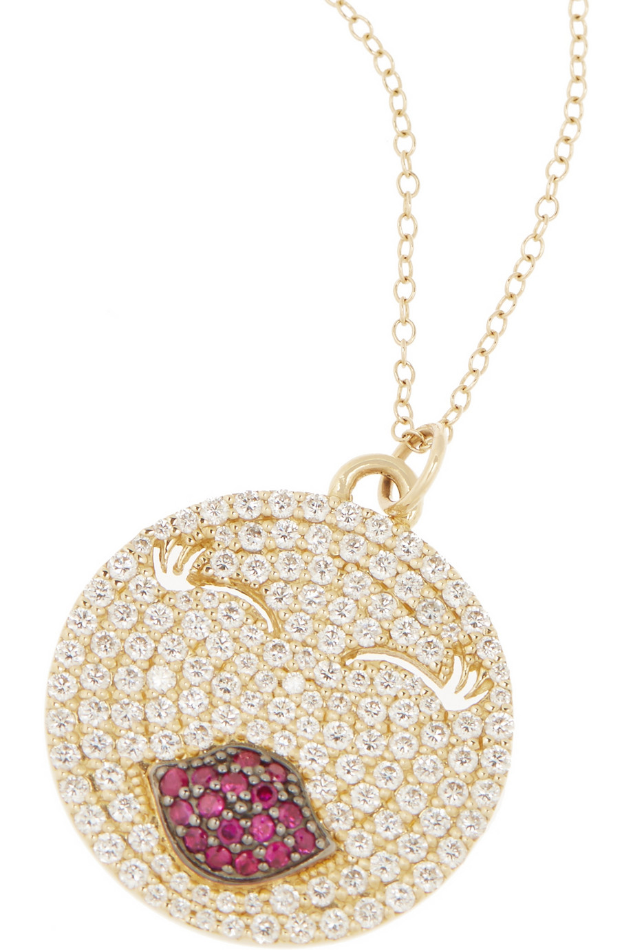 Alison Lou  Mwa! 14-karat gold, diamond and ruby necklace, $9,680,  available at Net-A-Porter.