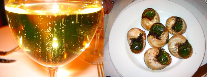 Escargot and champagne because they are as gluttonous as FFR and can prove it.