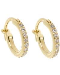 Ileana Makri  18K yellow gold & diamond huggie hoop earrings, worn by Sophie and available on  Net-a-Porter  for $1145