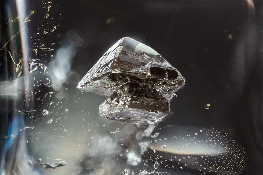 Pyrite in quartz by @mineralien Brazil Field of view = 4.7mm • Depth of field = 2.225mm