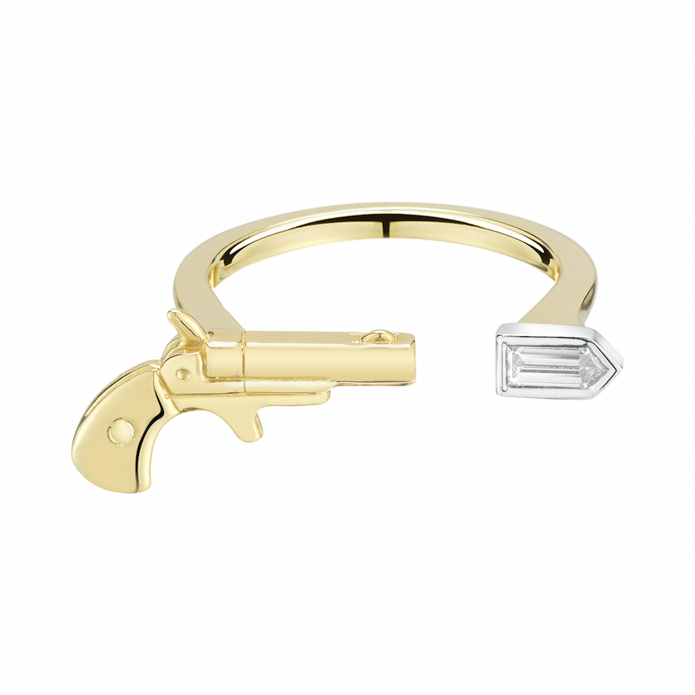 "18k Yellow Gold Pistol and White Diamond ""Bullet"" Open Ring, $3,500,  available at Finn Jewelry ."
