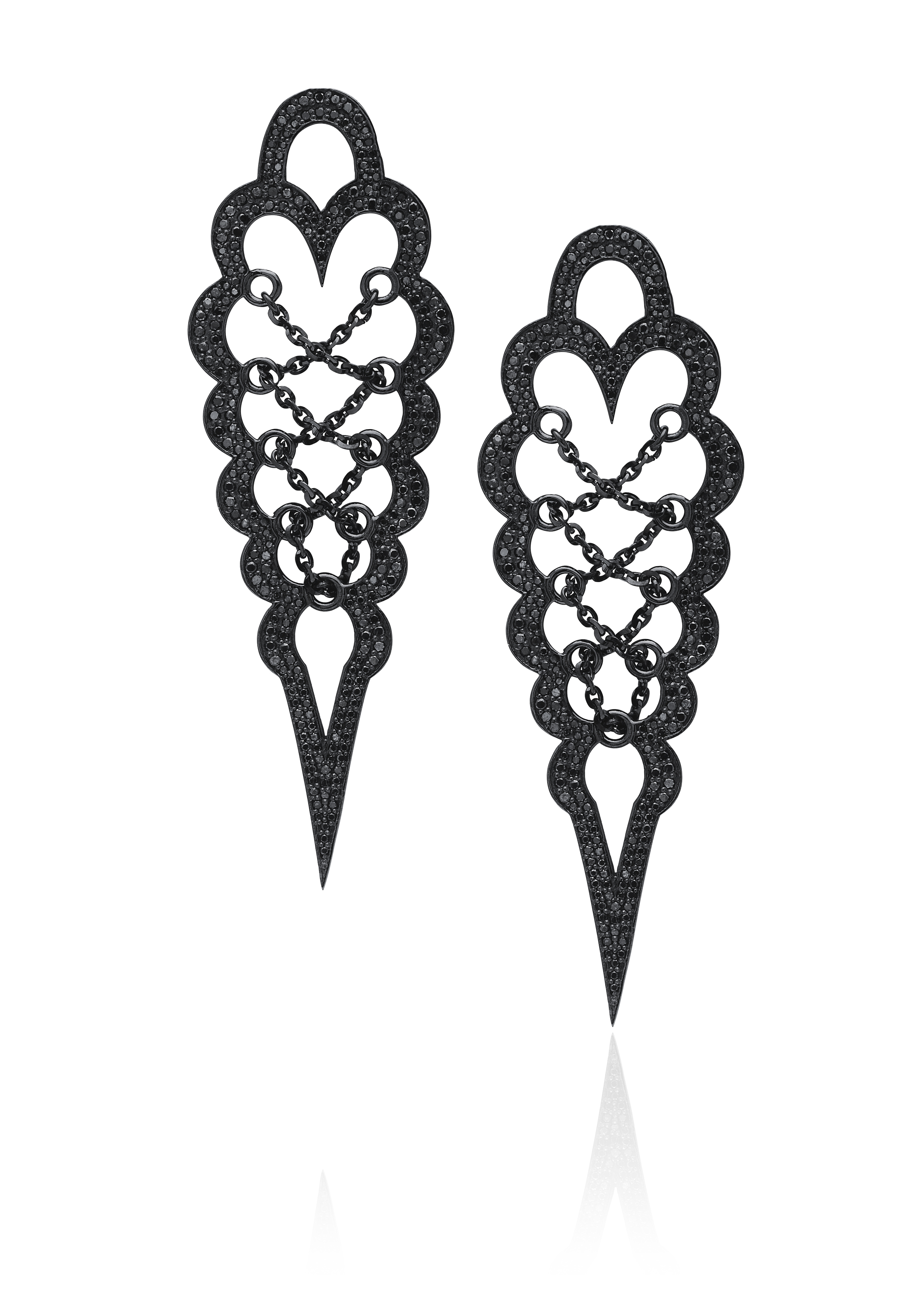 """Brand new black diamond corset earrings from the """"Entwined with You"""" collection."""