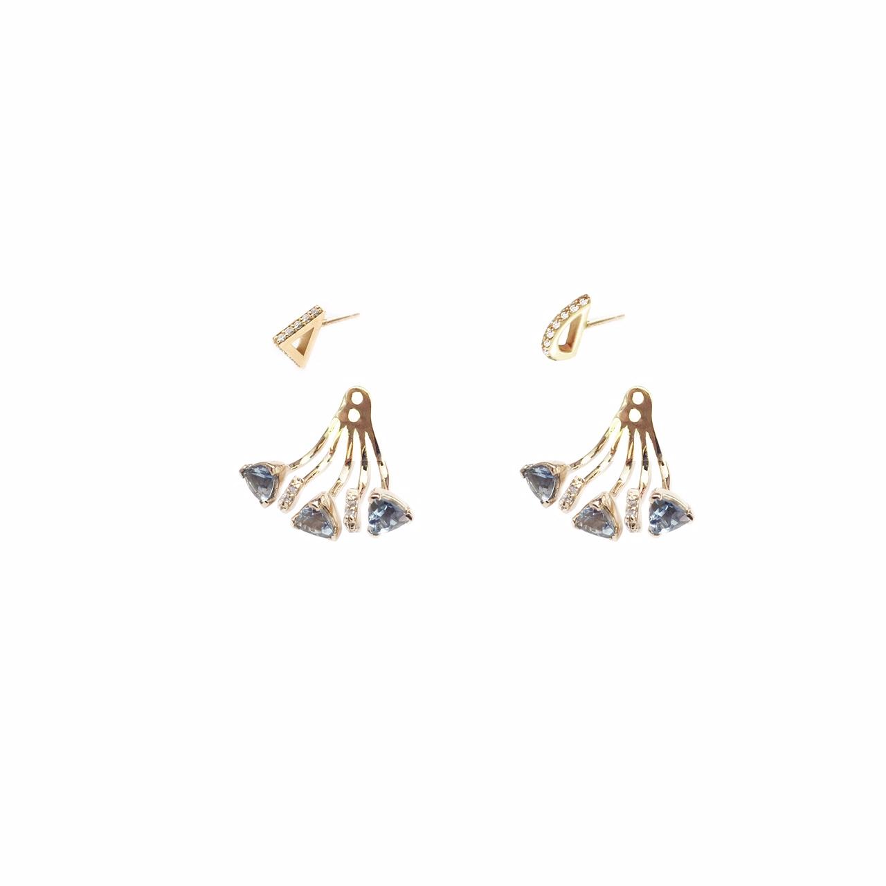 Marta E04126 Trillion Mini Ear Jacket with Triangle Studs-YG-AQ.jpg