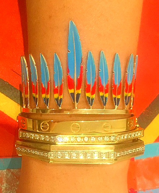 Dream cuff: Enamel feather by Luis Morais