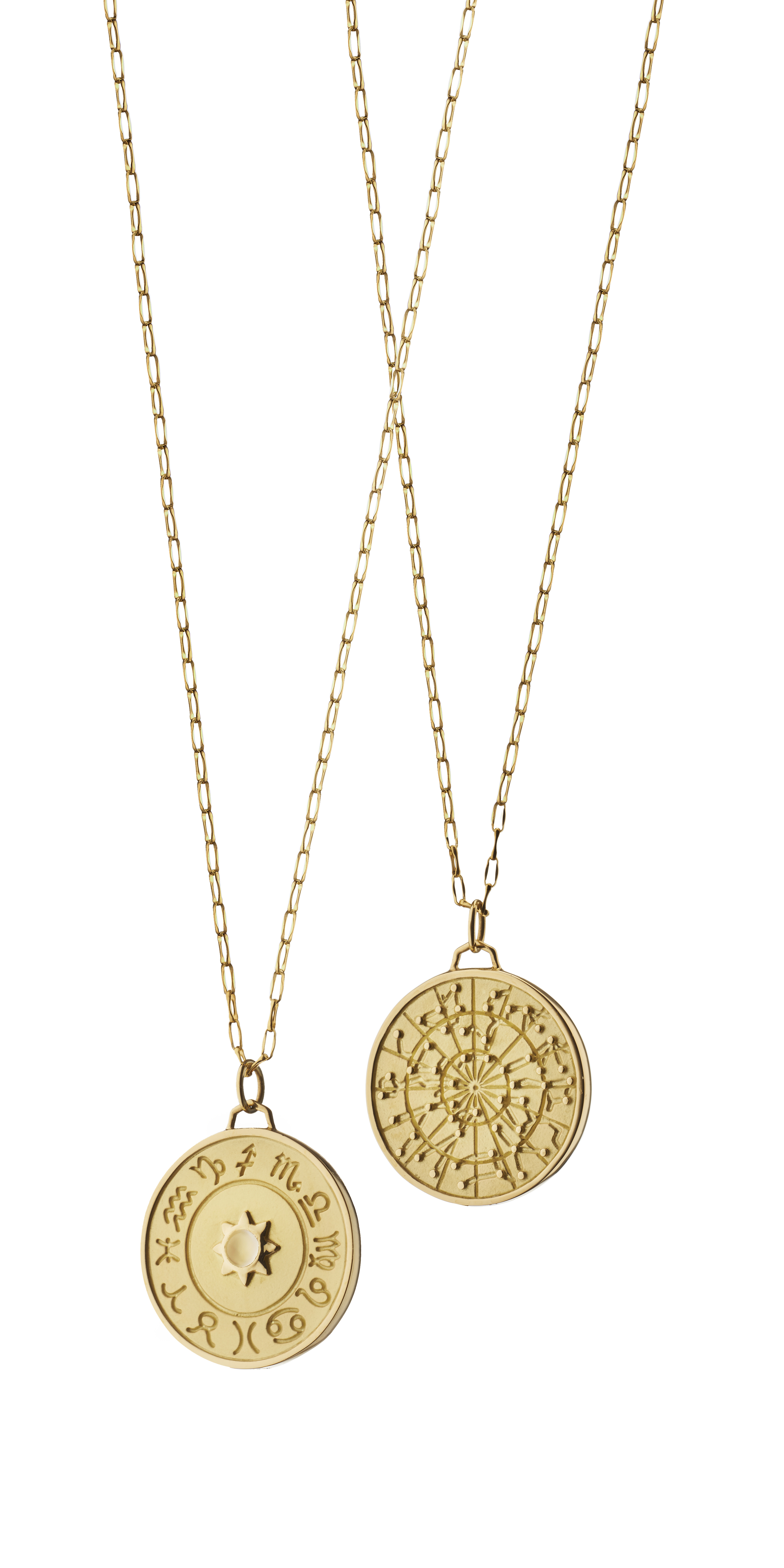 More newness -- Zodiac pendants in 18k yellow gold.