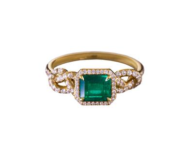 Emerald and Diamond Knot Ring (Meaghan's favorite) available at  twistonline.com