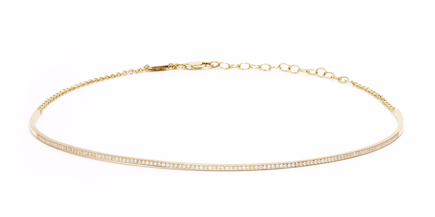 The simple and chic Electric choker in 18K gold and diamonds.
