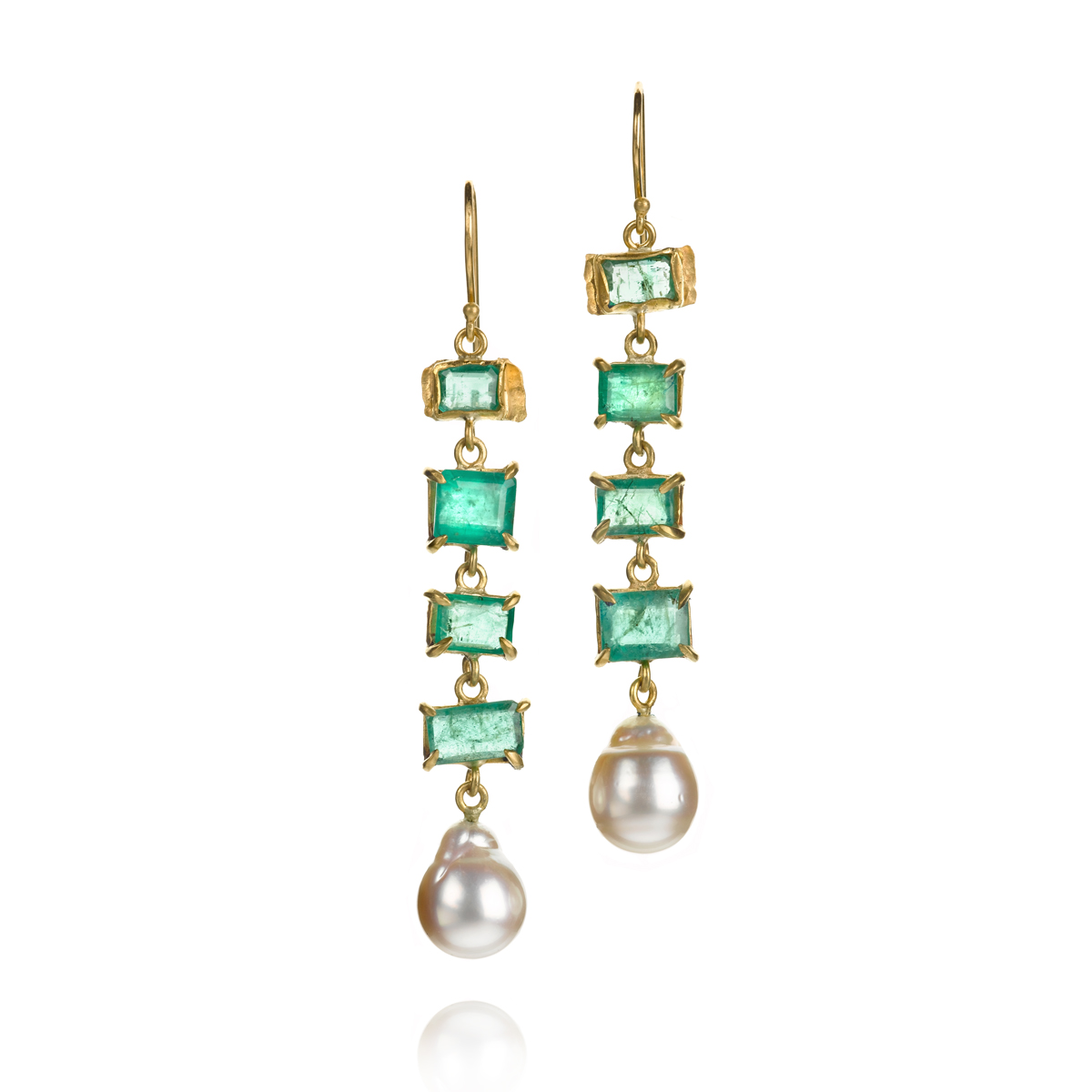 Emeralds all day yes please.22K earrings with 9.08 cts emerald and baroque freshwater pearl, $6,655.