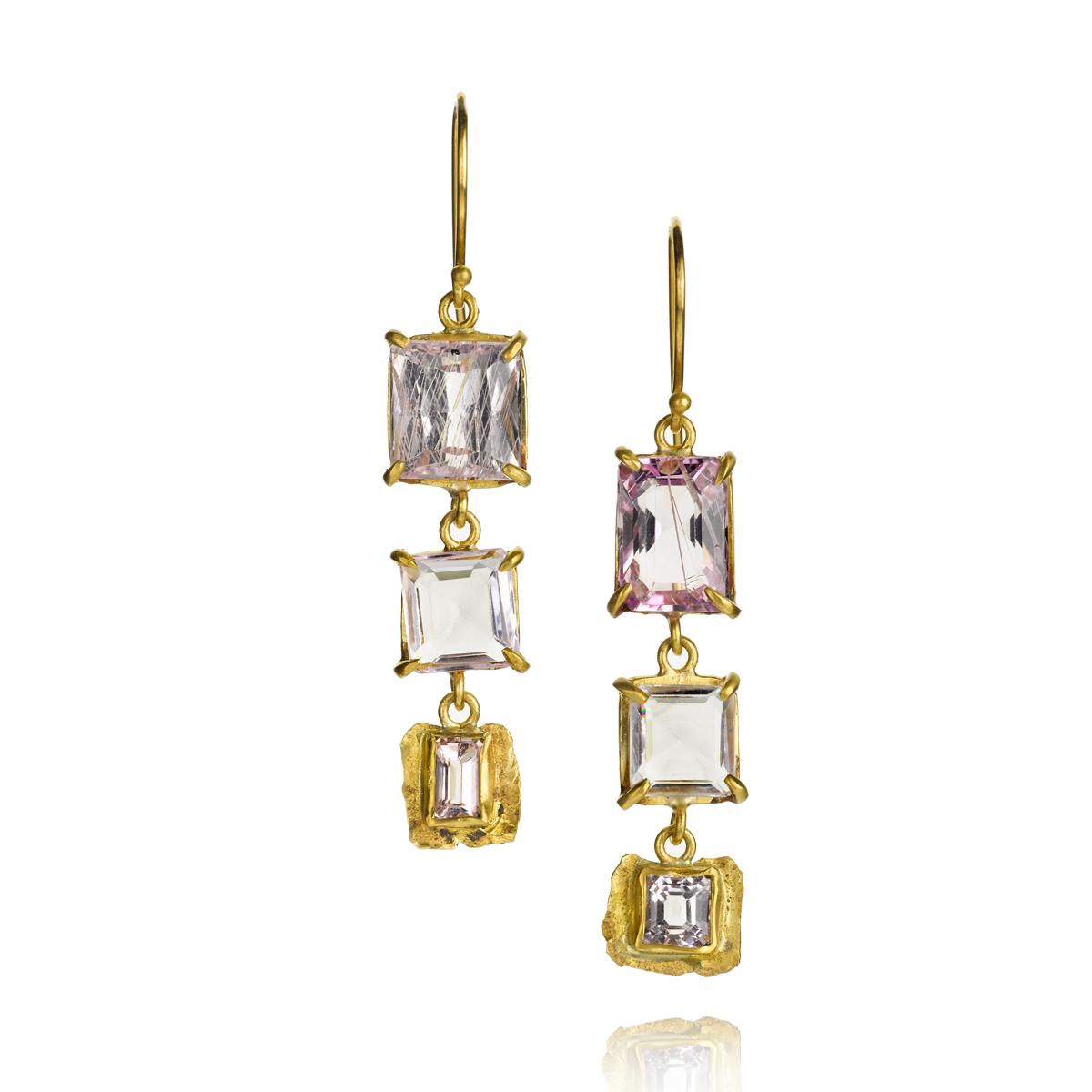 22k earrings with kunzite, $3,575.