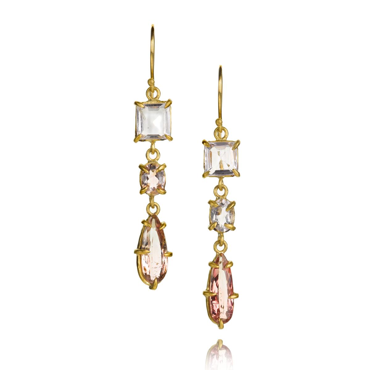 22k gold earrings with tourmaline, morganite and kunzite,$2,765.
