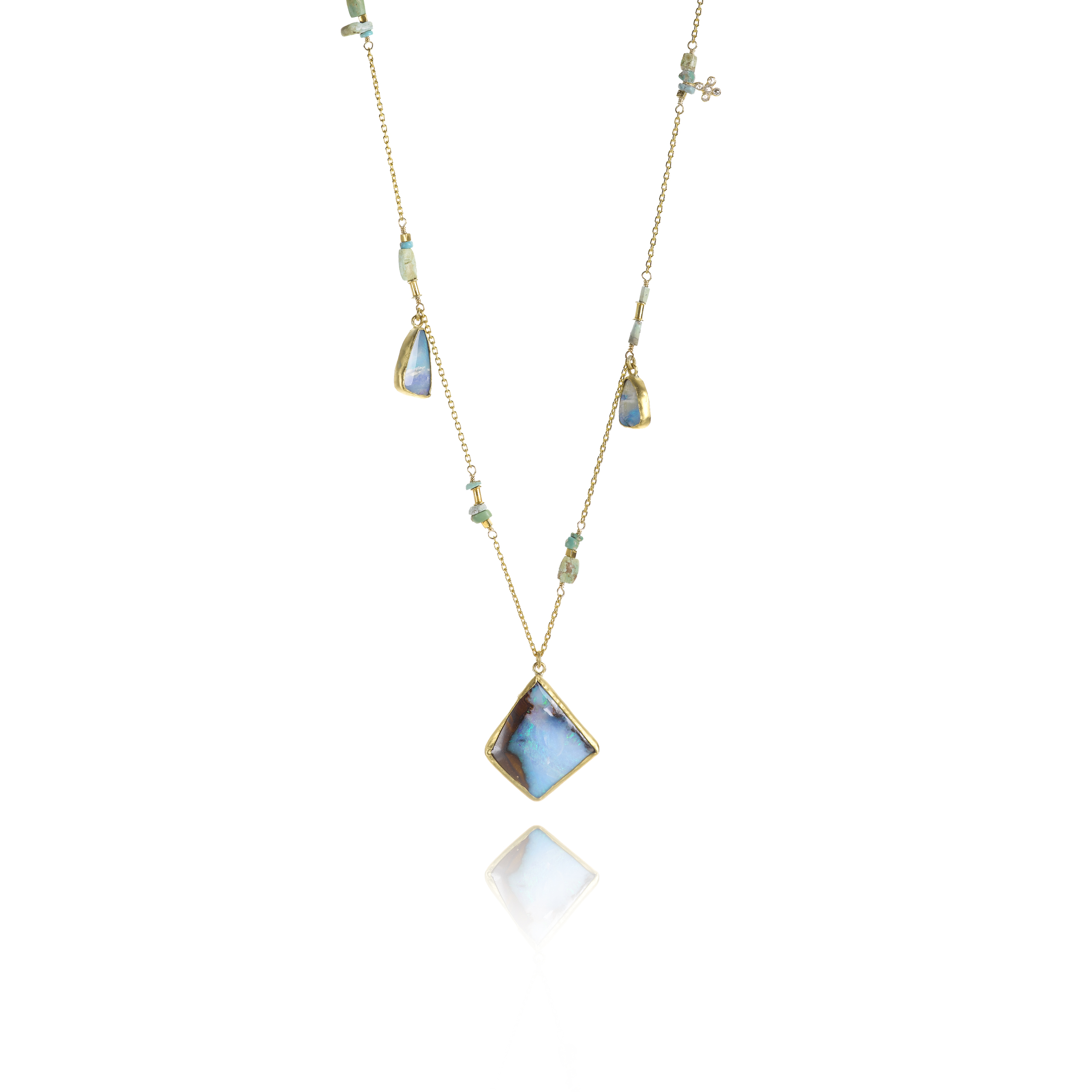 22k necklace with Boulder opal, turquoise and diamond,$6,580.