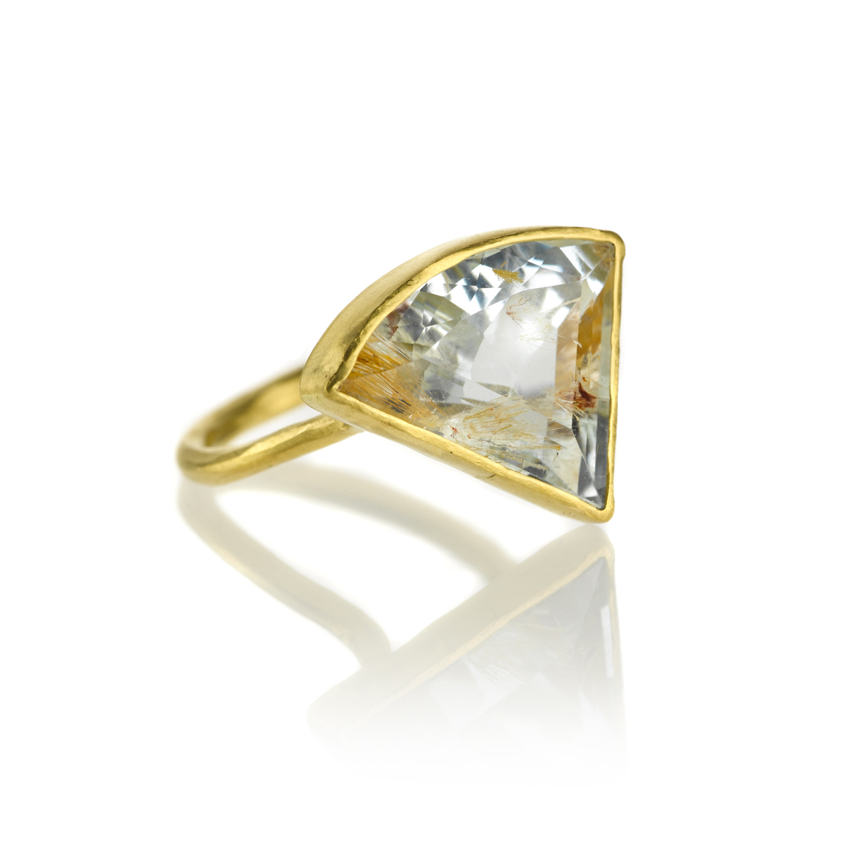Loving the shape of this 22k gold ring with rutilated topaz,$3,720.