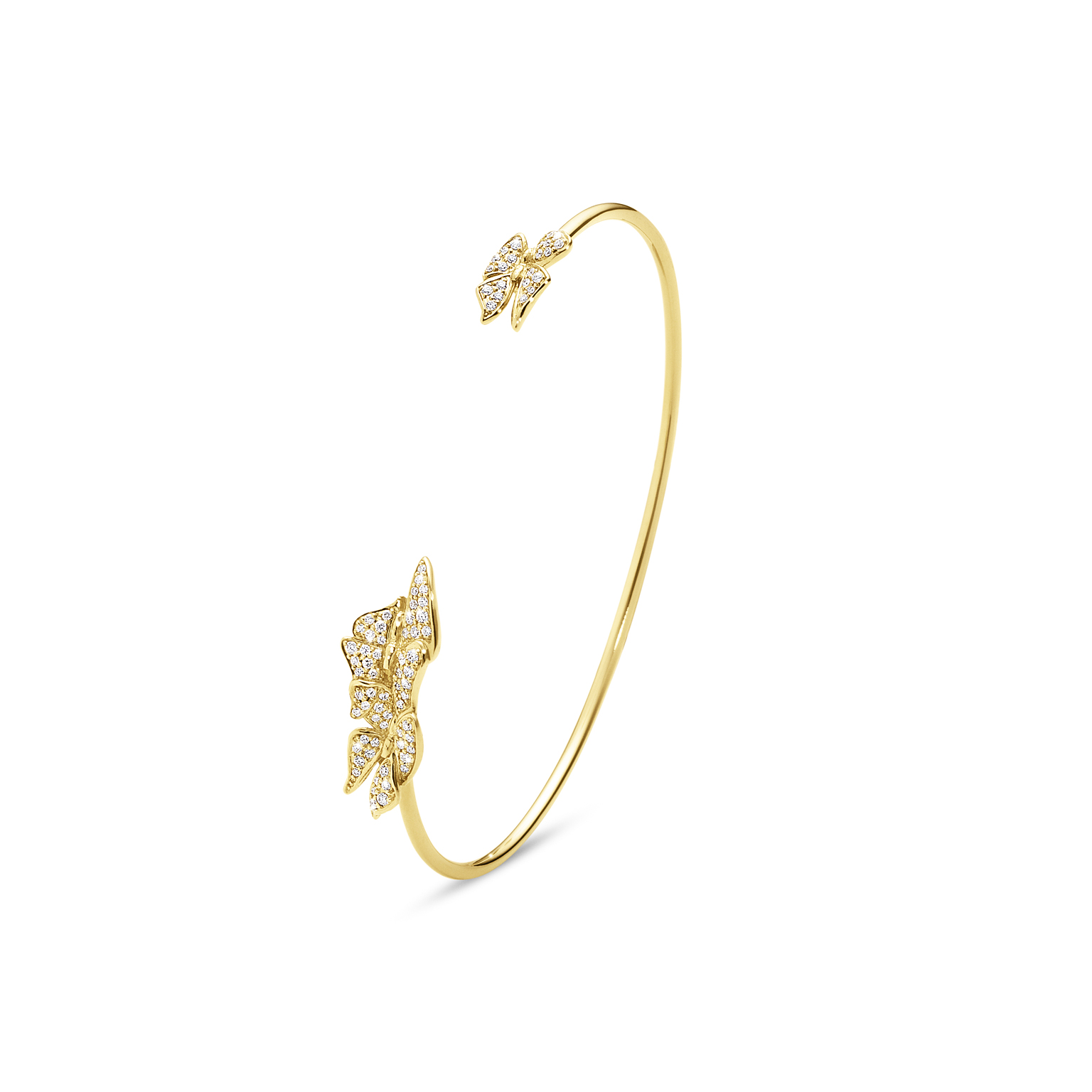 The Askill Collection for Georg Jensen  Butterfly bangle in 18K gold and diamonds.