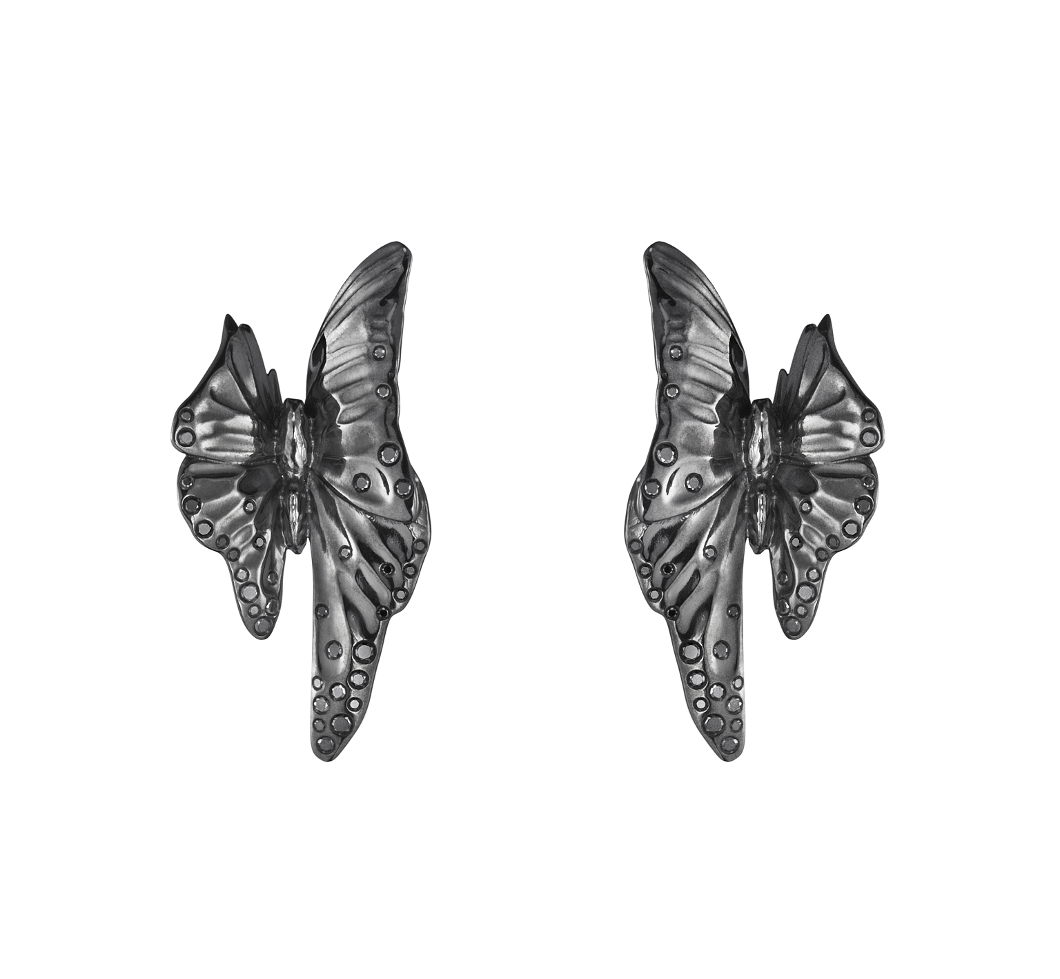 The Askill Collection for Georg Jensen  ear cuffs in black rhodium with black diamonds.