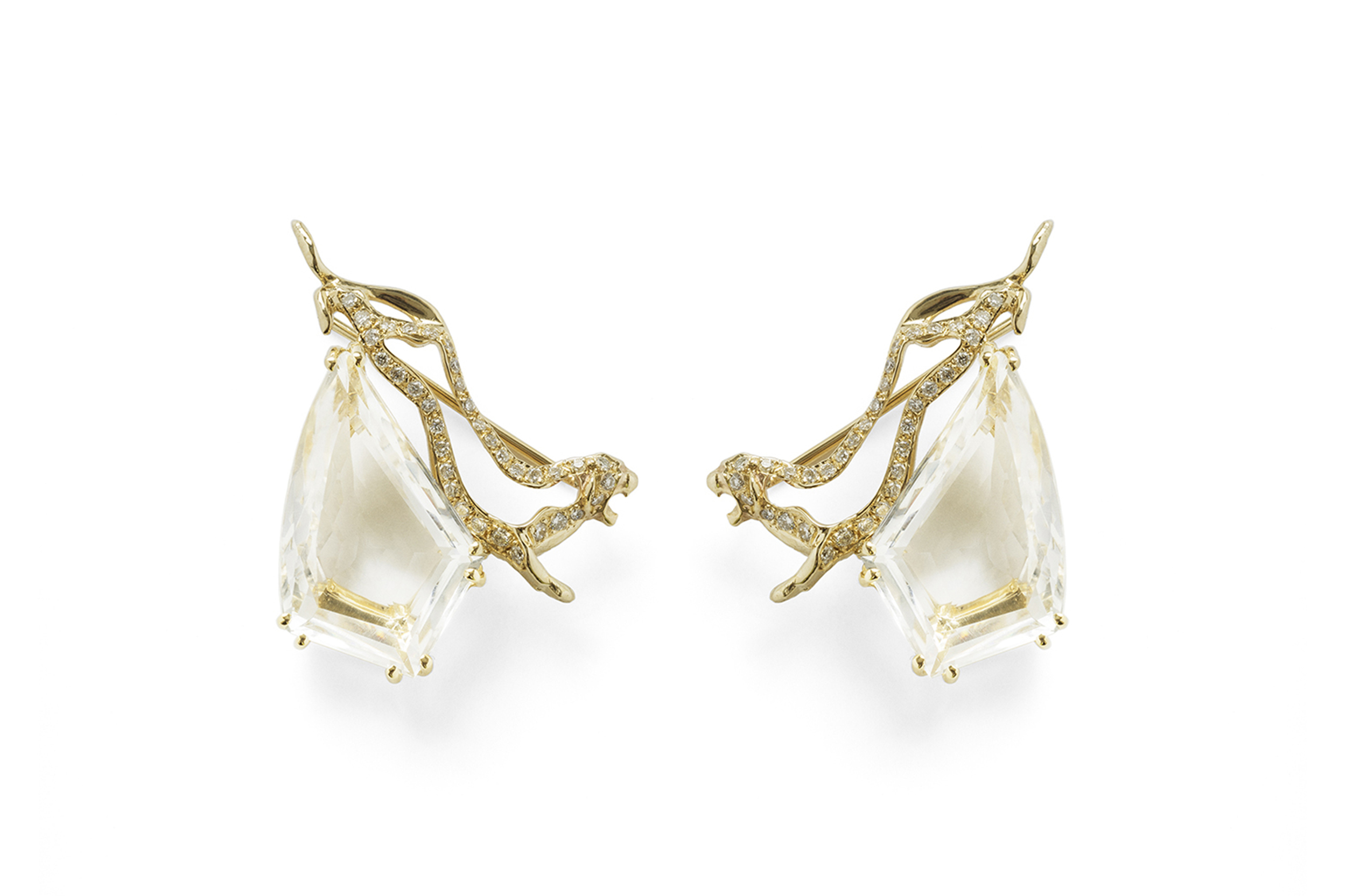 Jordan Askill  Panther cut out earrings with pave and bespoke faceted eye clear rock crystal.