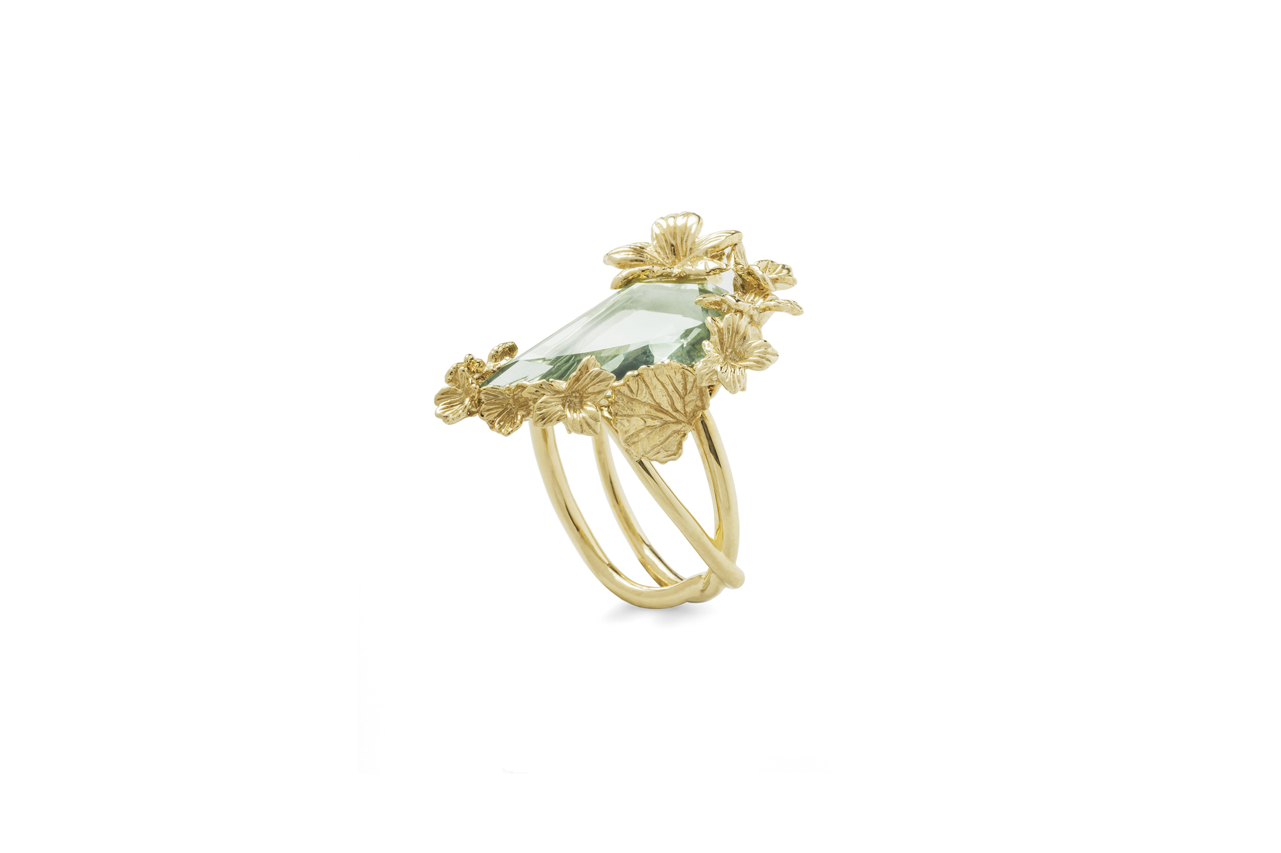 Side view of the  Jordan Askill  18k yellow gold Viola Canadensis twisted shank ring with bespoke faceted green amethyst.