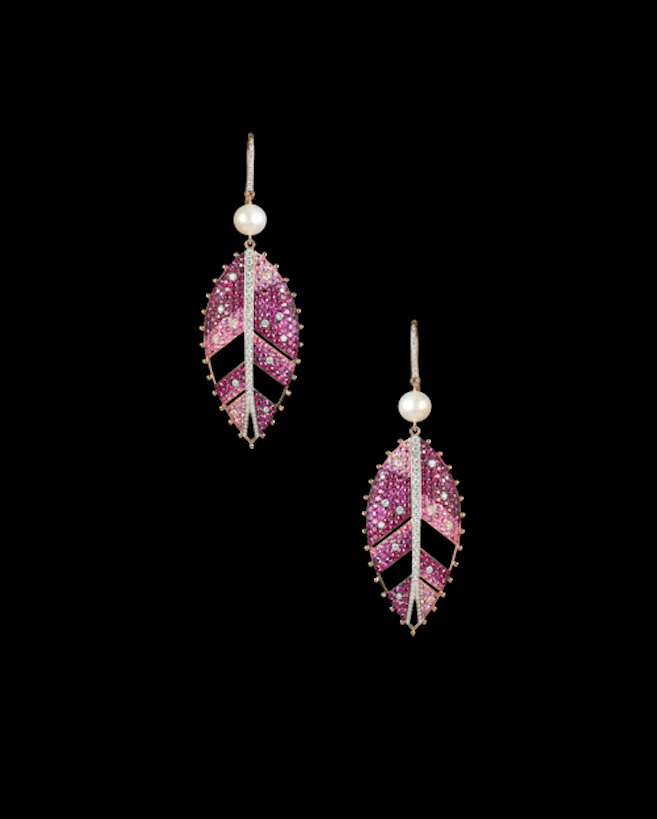 Glitterbomb leaf earrings in rubies and diamonds with a pearl accent.