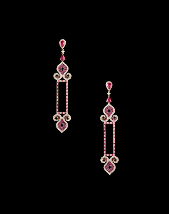 Aurora earrings in ruby and diamonds.