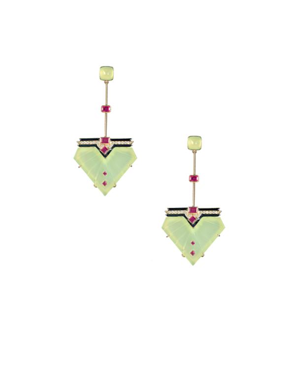 Bring it Back earrings in chalcedony, enamel, ruby and diamonds.