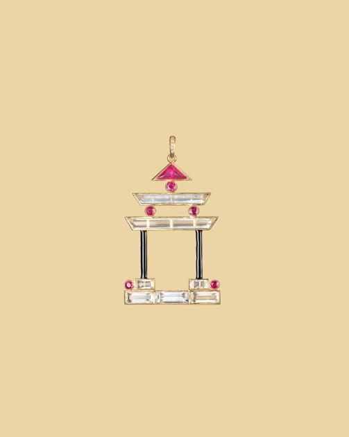 Pleasure Palace Pagoda pendant in rock crystal, ruby, enamel.
