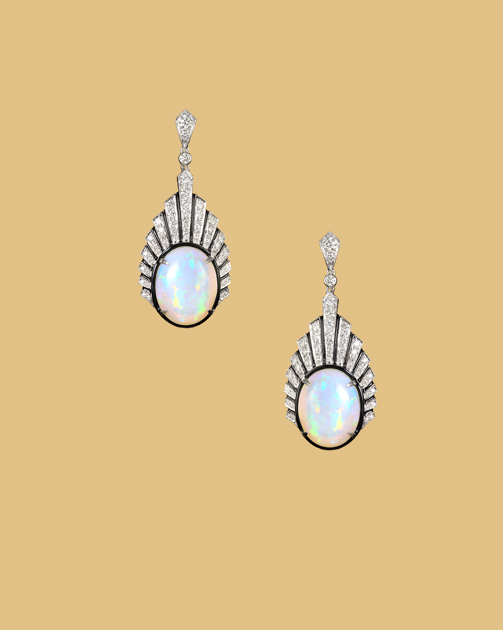 Crested opal earrings with diamonds.