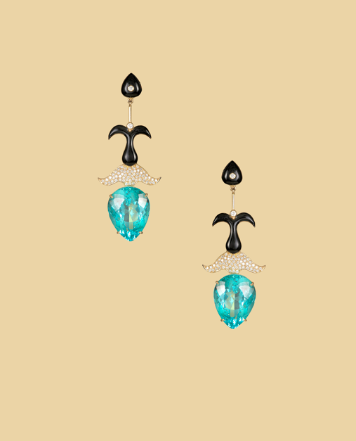 Mystical Sea Creatures earrings in Paraiba tourmaline, enamel and diamonds.