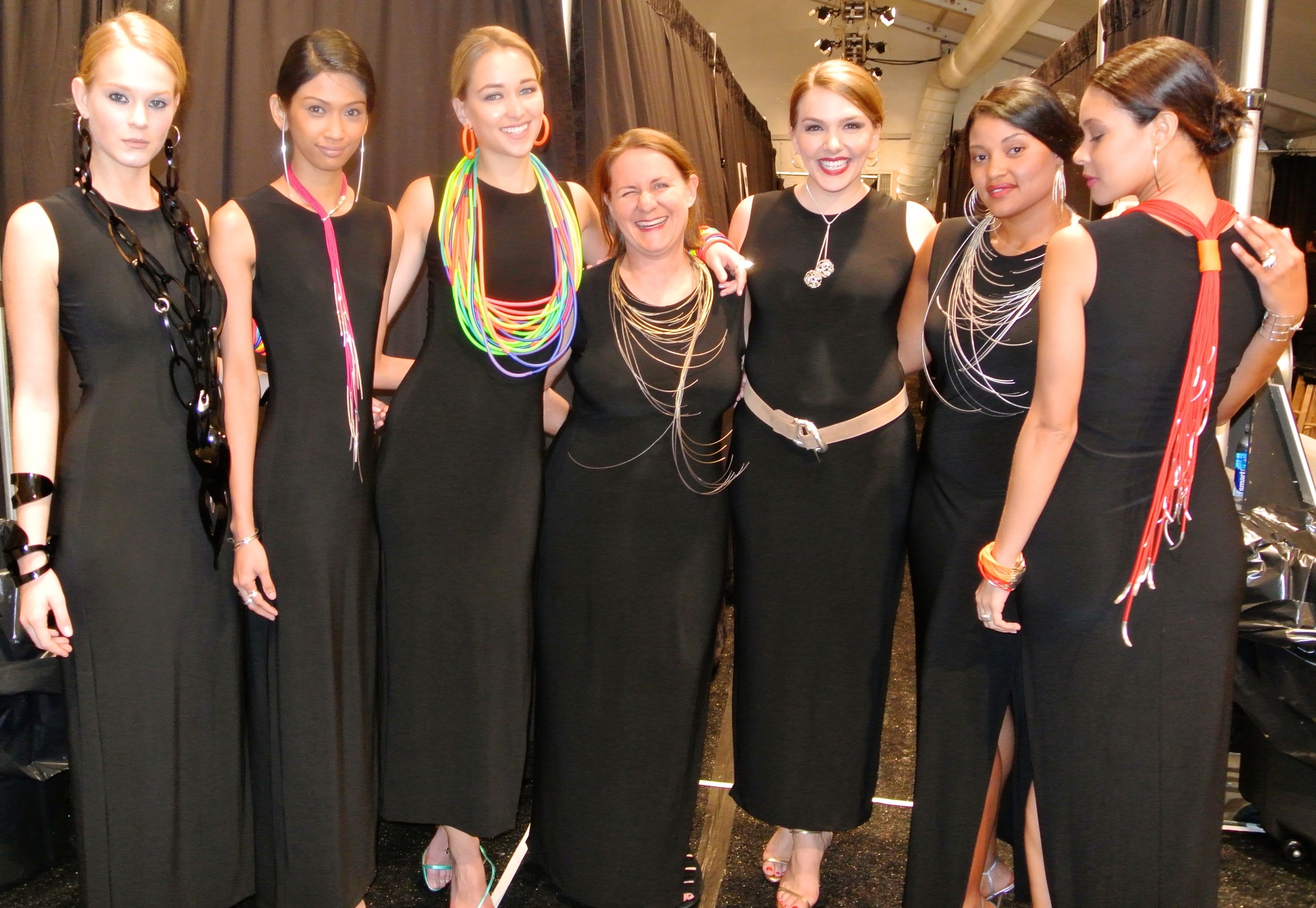 Katrin with models at fashion week.jpg