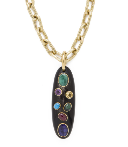 MACHOZI PENDANT $795 OVAL HORN PENDANT WITH SAPPHIRE, PINK TOURMALINE, EMERALD, TURQUOISE, CITRINE AND AMETHYST STONES
