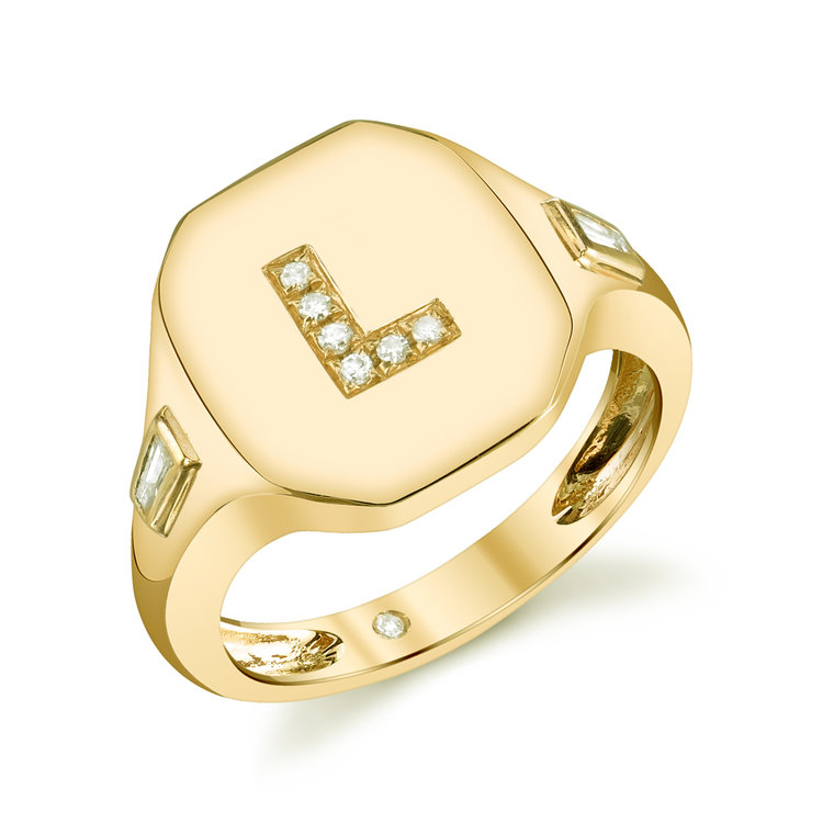 18k gold and diamond initial ring, available in rose, yellow and white gold, $1,670, available at London Jewelers