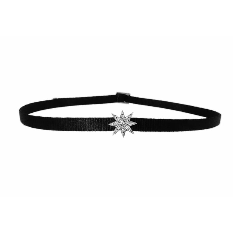 Celestial mini starburst choker in 18k white gold and diamonds on ribbon, $1,250, available at Saks Fifth Avenue