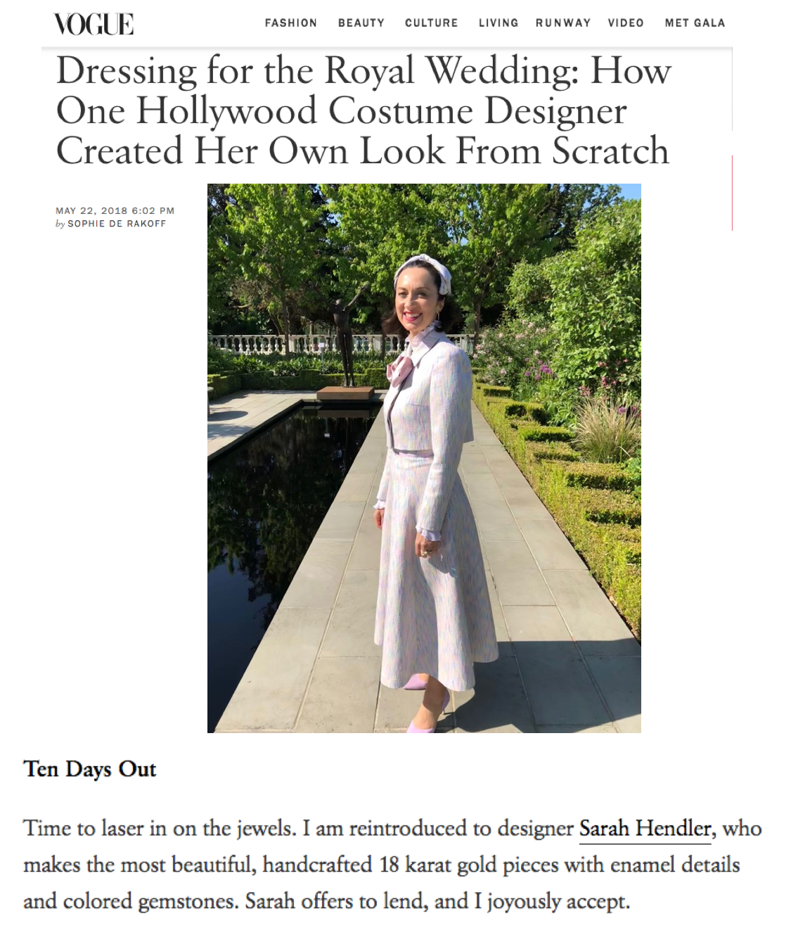 Sarah Hendler on Vogue.com - Royal Wedding