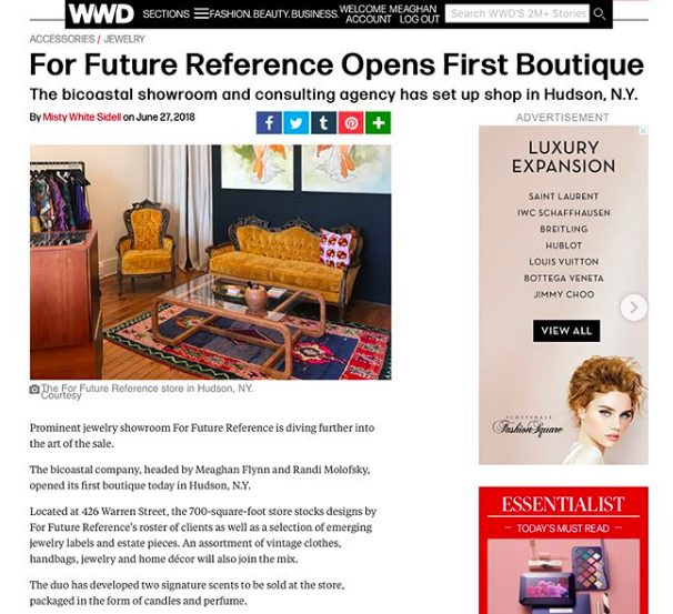 FFR Shop feature on WWD.com